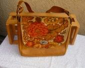 1970s Carpet and Leather Boho/Hippie shoulder purse