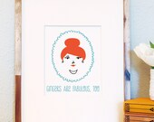 Gingers are fabulous too art print redhead cameo face illustration 8x10