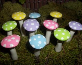 FREE Shipping 10 spring miniature fairy garden mushrooms terrarium toadstool woodland pastel easter