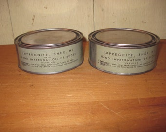 Two Cans of Impregnite Shoe M1 - WWII Military Collectible