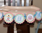 Girly Circus I AM ONE high chair banner