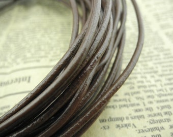 10YARD 2.5mm Round Brown Color  Real Leather Cord Without Clasp Lobster