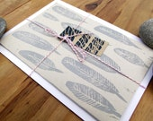 SALE Hand Printed Seaside Grey Feather Notecard - Lino/Block Print