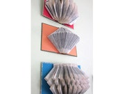 Your Choice of One of 12 Folded Book Art Sculptures -Hand Folded Vintage Books - Colorful Paper Wall Art Book Sculptures