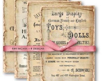 Digital Collage Sheet Download - Vintage Ephemera Paper -  612  - Digital Paper - Instant Download Printables