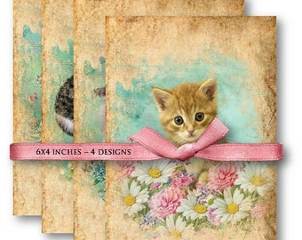 Digital Collage Sheet Download - Cats and Kittens Papers -  660  - Digital Paper - Instant Download Printables