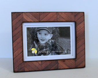 Chevron Dark Wood Photo Frame 4x6 5x7