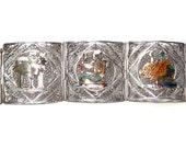 Egyptian Revival Link Bracelet Enamel Sterling Silver Cannetille Panels Vintage Jewelry