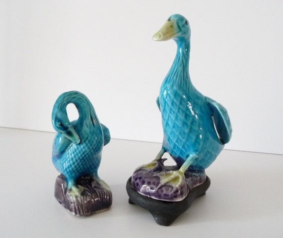 Pair Of Antique Chinese Porcelain Ducks Turquoise Blue Duck