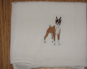 Machine Embroidered Red Boxer Flour Sack Dish Towel