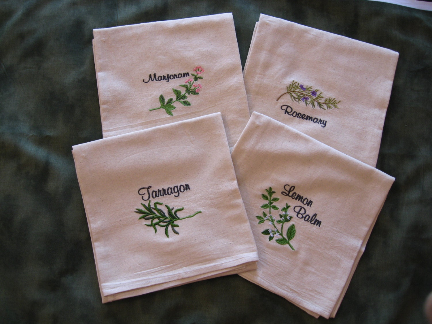 Set of 5 Machine Embroidered Flour Sack Herb Dish Towels