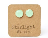 Mint stud earrings girlfriend gift mom gift for women teen gift wood jewelry post earrings  eco friendly starlight woods