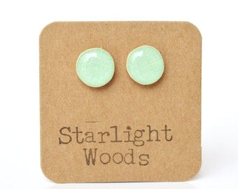 Mint stud earrings wood studs mom gift for women teen gift wood jewelry post earrings  eco friendly starlight woods