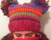 Crazy Fun Striped Pom Pom Hat Adult