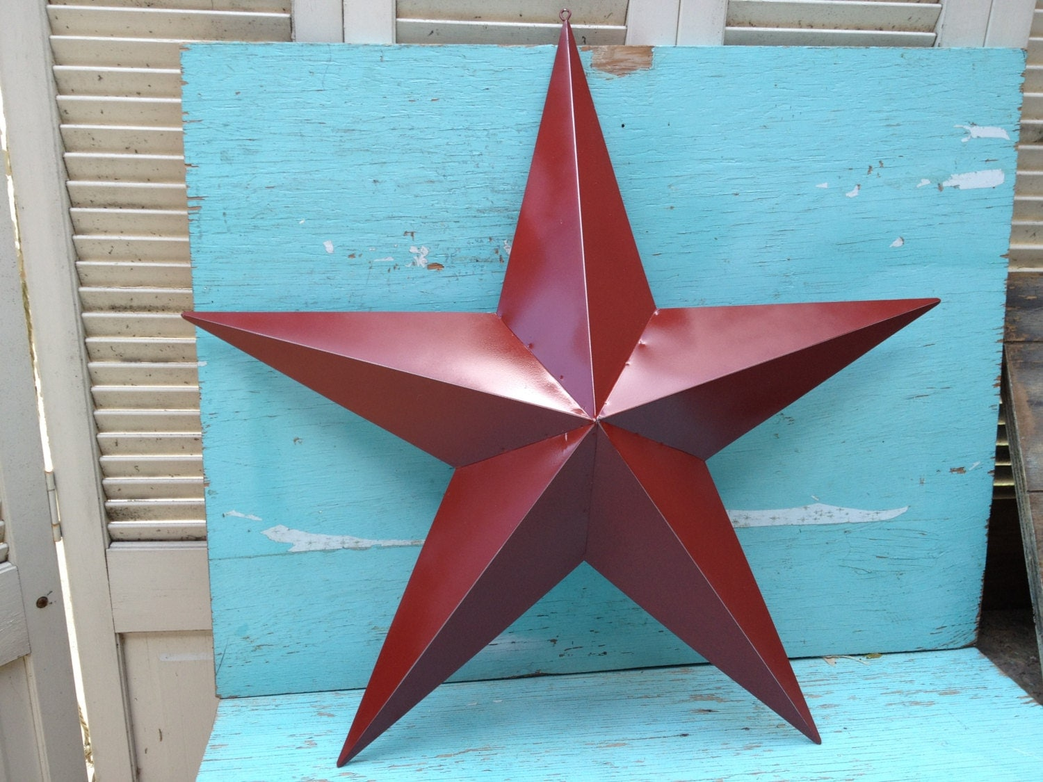 Star Wall Decor Ideas: Large Rustic Red Distressed Metal Star Wall Hanger Home Decor