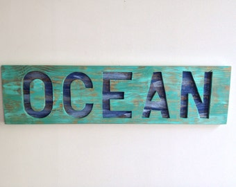 Rustic Beach House Decor OCEAN cut out of Reclaimed Wood