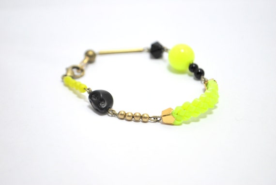 "Neon colorblock Friendship Beads Bracelet black and yellow  neon "" Mish"""
