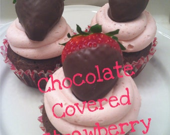 Chocolate Covered Strawberry Cupcakes-Made to Order