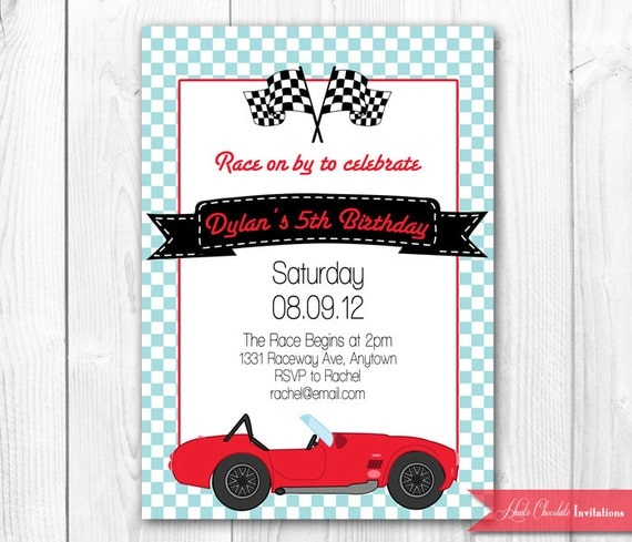 vintage race car birthday invitation. race by hautechocolatefavors, Birthday invitations