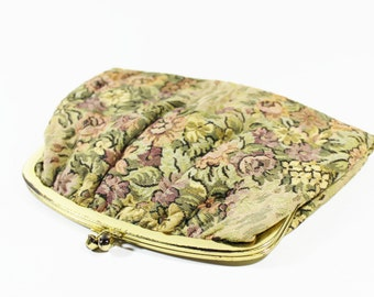 1960s purse clutch hand bag upholstery tapestry fabric flower floral