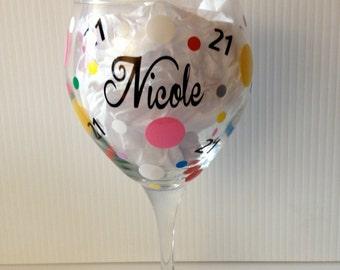 Personalized Happy 21st Birthday / Wine Glass 20oz  /  Custom Wine Gift  / Girls Night Out / Birthday Gift / 21st Birthday