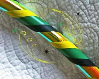 Jamaican Sunrise Dance & Exercise Hula Hoop COLLAPSIBLE or Push Button - yellow black green
