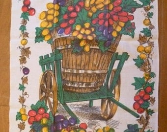 Vintage Tea Towel French - Fruit Picking Harvest Time Plums Vendanges Free Shipping Worldwide