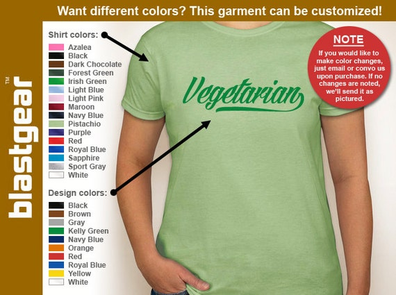 Vegetarian healthy eating T-shirt — Any color/Any size - Adult S, M, L, XL, 2XL, 3XL