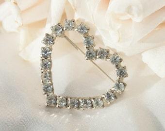 1950s Heart Brooch -  Rhinestone / Vintage Romantic Girly Jewelry