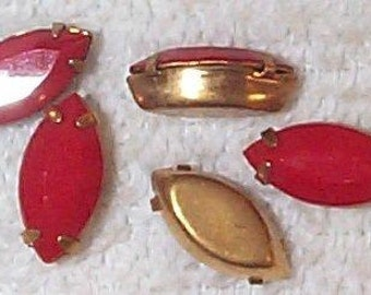 Vintage Cherry Red Glass Marquise in Brass Setting