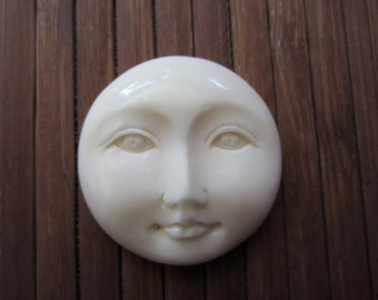 25 mm Moon Face Open Eye , Embellishment, Natural Cabochon, flat backed cab, Jewelry Supplies S2611