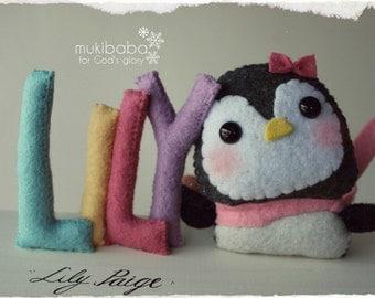 BABY PENGUIN NAMEPLATE, winter nursery, penguin nursery, kawaii penguin, baby shower center piece