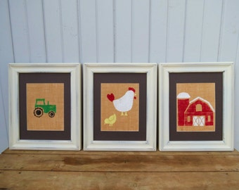 Farm Animal Nursery Decor Prints on Burlap 8x10 Set of 3 YOU CHOOSE / Children's Wall Art / Tractor Wall Art
