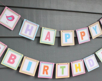 A LITTLE BIRDIE Girlie Colors Happy Birthday Party Banner - Party Packs Available