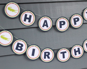 Girlie Preppy Alligator Happy Birthday Party Banner - Party Packs Available