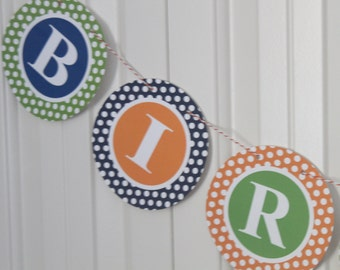 PREPPY POLKADOT MONOGRAM Theme Happy Birthday or Baby Shower Party Banner - You Pick Colors - Party Packs Available