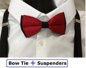 Bow Tie and Suspenders, Bowtie Suspender Set, Elastic Suspenders for Wedding, Birthday, Party, Photo Prop, Custom Made
