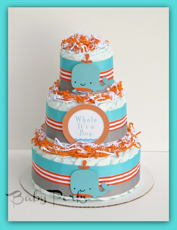 orange and turquoise baby shower decorations sea whale centerpiece