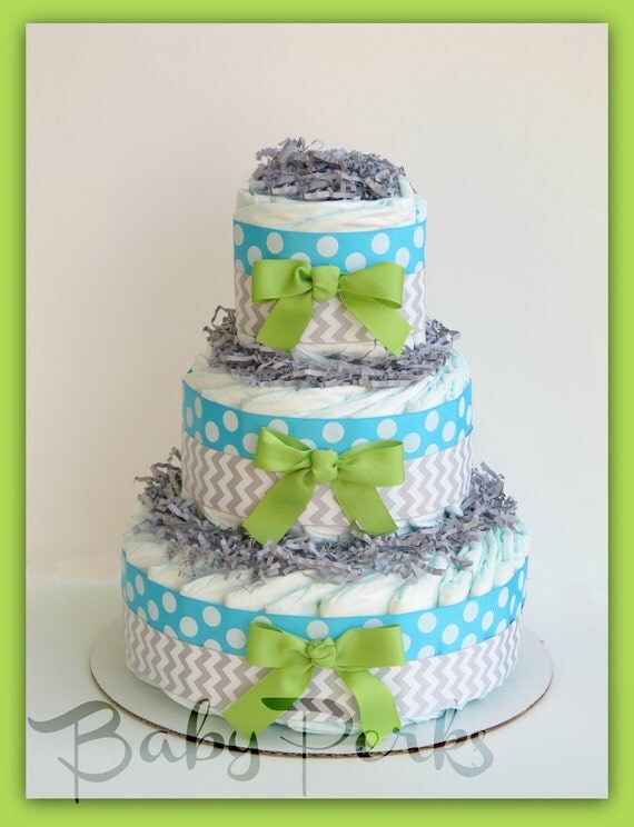 Oh Baby Chevron Aqua Lime Baby Diaper Cake Baby Shower Decorations