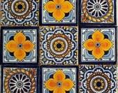 "Spanish Mediterranean decor 9  Hand Painted Talavera Mexican Tiles 4"" x 4"""