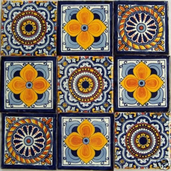 Spanish mediterranean decor 9 hand painted talavera mexican for Spanish decorative tile