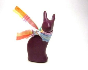Brandy Bunny - tiny brandy colored bunny rabbit sculpture OOAK hand made sculpture polymer clay Easter