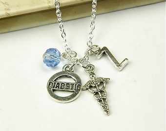 Personalized Diabetic Necklace with Your Initial and Birthstone