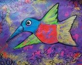 """Art Original painting of Whimsical purple humming bird flying home and office decor,19.5""""x25.5"""" acrylic on paper Mother's Day gift"""