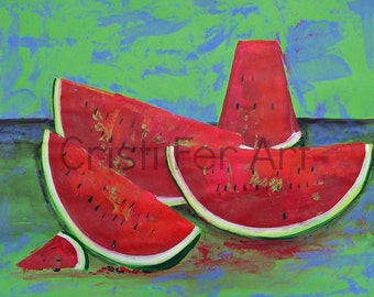 Watermelon painting still life with fruits impressionistic red and green acrylic  on paper dinning room wall art