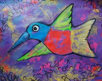 """SALE Art Original painting of Whimsical purple humming bird flying home and office decor,19.5""""x25.5"""" acrylic on paper Mother's Day gift"""