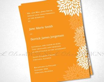 Tangerine Flowers Wedding Invitiation DIY Printable