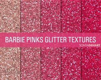 80% OFF Sale Glitter Digital Paper Glitter Textures Paper Pack Barbie Pinks