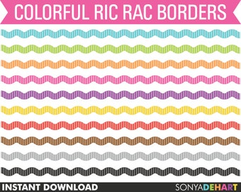 80% OFF Sale Clipart Borders Bright Colorful Ric Rac Wavy Ribbon Zig Zag Border