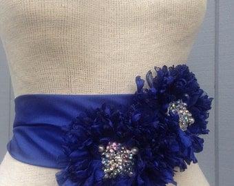 Wedding sash, wedding belt, wedding accessories, bridal belt, blue sash, womens sash, wedding gown, flower sash, handmade sash, belt.